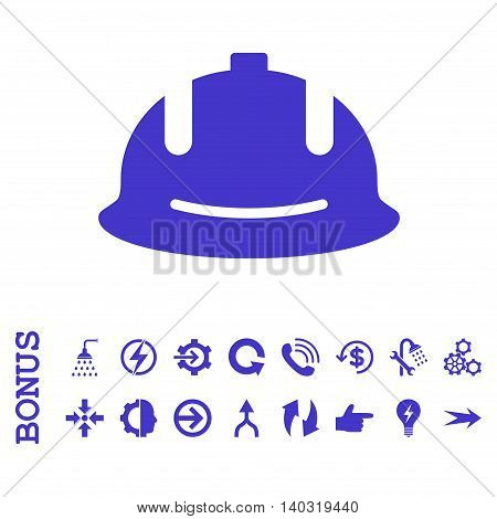Construction Helmet glyph icon. Image style is a flat iconic symbol, violet color, white background.