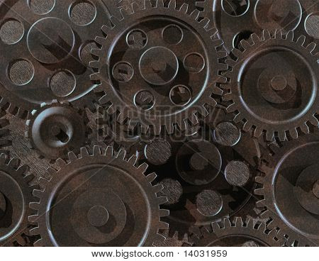 assorted metal gears with tarnished patina finish