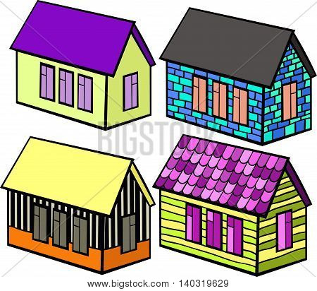 Set Of Wooden Houses And Brick Cartoon. Vector Illustration