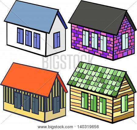 Set Of Wooden Houses And Brick. Vector Illustration