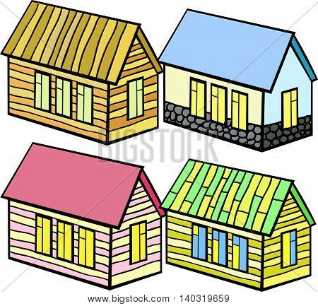 Set Of Wooden Houses And Stone. Vector Illustration