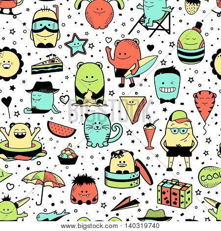 Vector summer seamless pattern with funny monsters, personage. Cool colorful hand drawn characters.