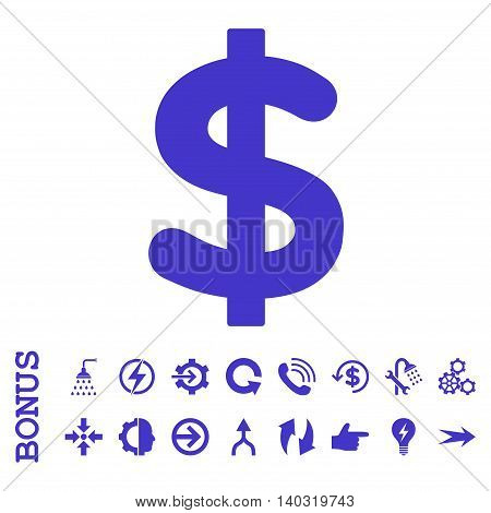 Dollar glyph icon. Image style is a flat pictogram symbol, violet color, white background.