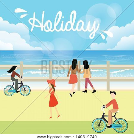 holiday season bright sky people go to the beach walking and riding bicycle vector