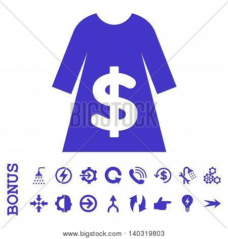 Dress Sale glyph icon. Image style is a flat iconic symbol, violet color, white background.