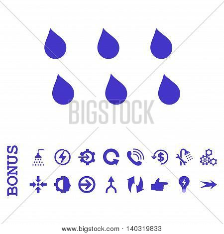 Drops glyph icon. Image style is a flat iconic symbol, violet color, white background.