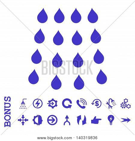 Drops glyph icon. Image style is a flat pictogram symbol, violet color, white background.