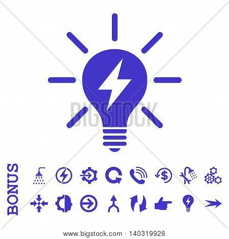 Electric Light Bulb glyph icon. Image style is a flat pictogram symbol, violet color, white background.