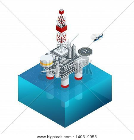 Oil and gas platform in the gulf or the sea. The world energy. Offshore oil and rig construction. Vector isometric icon
