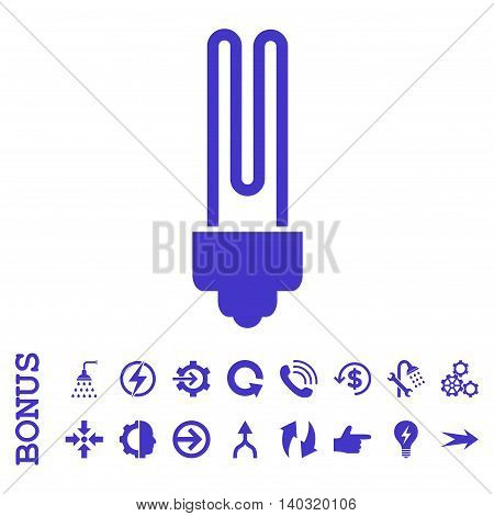 Fluorescent Bulb glyph icon. Image style is a flat pictogram symbol, violet color, white background.