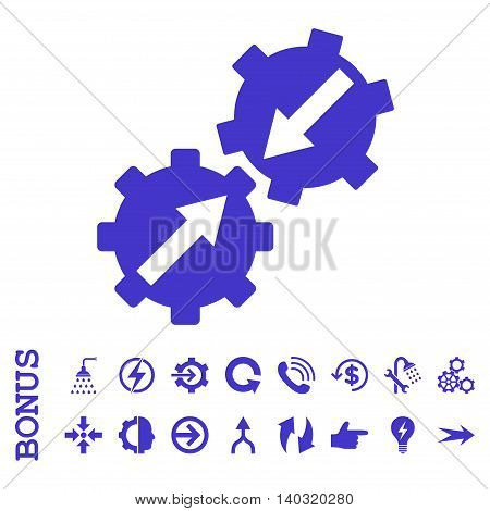 Gear Integration glyph icon. Image style is a flat iconic symbol, violet color, white background.