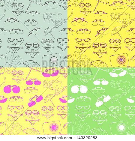 Set Seamless Pattern Of Goods For A Holiday At Sea. Vector Illustration