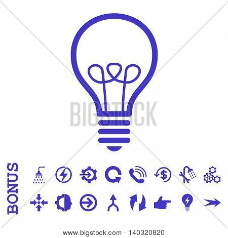 Lamp Bulb glyph icon. Image style is a flat iconic symbol, violet color, white background.