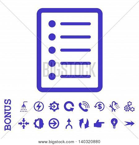 List Page glyph icon. Image style is a flat pictogram symbol, violet color, white background.