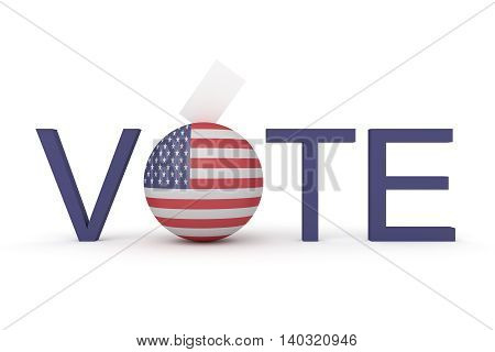 US election vote with Stars and Stripes sphere and envelope 3d illustration