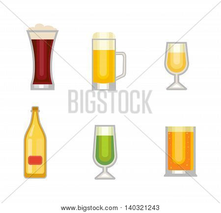 Alcohol drinks cups vector icons isolated. Oktoberfest beer light and dark drink vector cups mugs