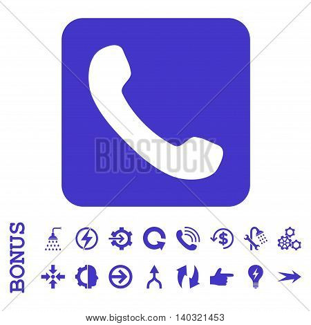 Phone glyph icon. Image style is a flat iconic symbol, violet color, white background.