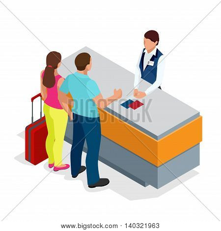 Airport terminal concept with passenger transportation. Passport control. Flat 3d isometric isolated vector illustration.