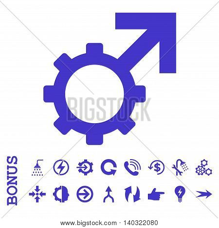 Technological Potence glyph icon. Image style is a flat iconic symbol, violet color, white background.