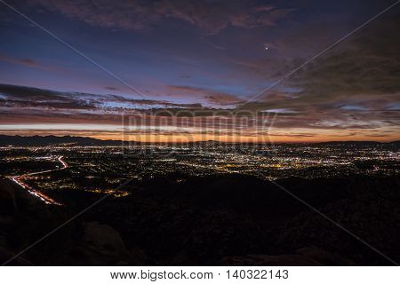 Early moring view of the San Fernando Valley area of Los Angeles, California.