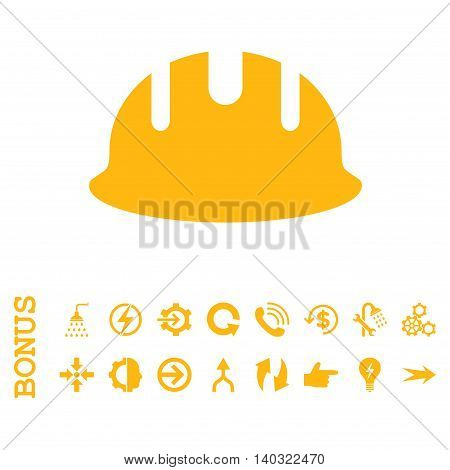 Builder Hardhat glyph icon. Image style is a flat iconic symbol, yellow color, white background.