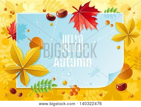 Vector illustration of macro autumn forest pattern with blue paper, falling leaves, rowan berry, chestnuts, maple and linden leaf, spider net with dew drops. Abstract modern concept with copy space