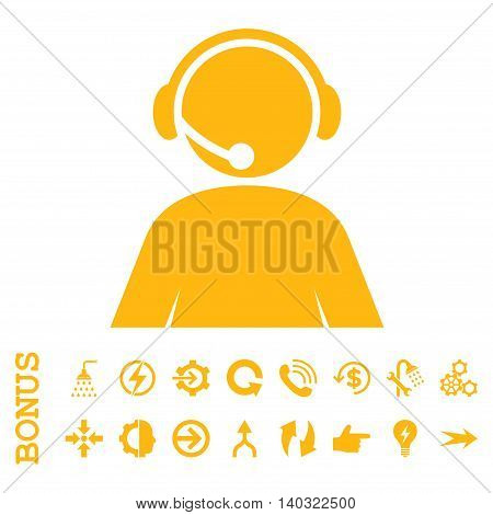 Call Center Operator glyph icon. Image style is a flat pictogram symbol, yellow color, white background.