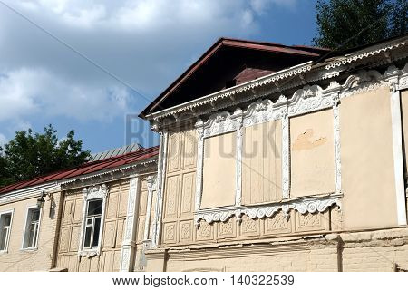 Facade of old vintage house in rural city horizontal photo closeup