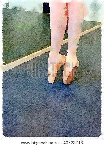 Digital watercolor painting of legs of young ballerina on pointe in a ballet dancing studio. With space for text.