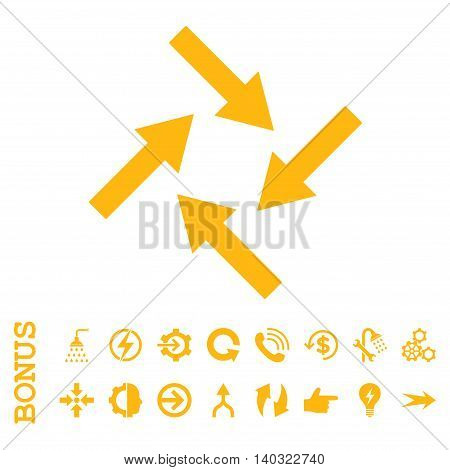Centripetal Arrows glyph icon. Image style is a flat pictogram symbol, yellow color, white background.