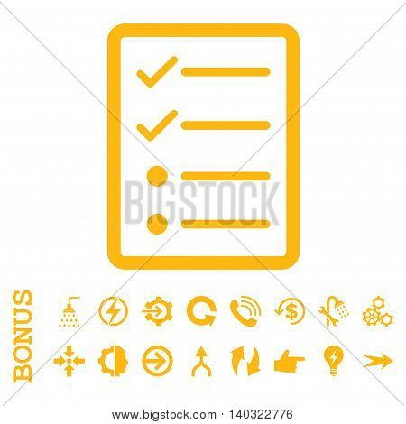 Checklist Page glyph icon. Image style is a flat iconic symbol, yellow color, white background.