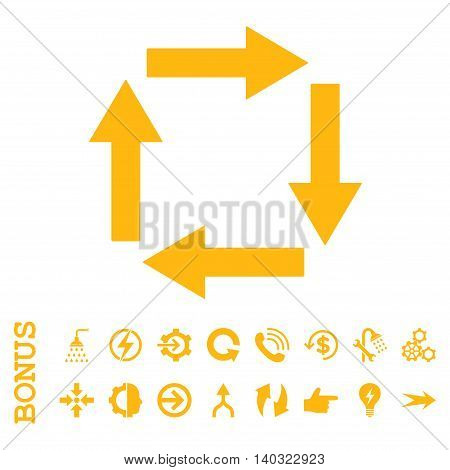 Circulation Arrows glyph icon. Image style is a flat pictogram symbol, yellow color, white background.