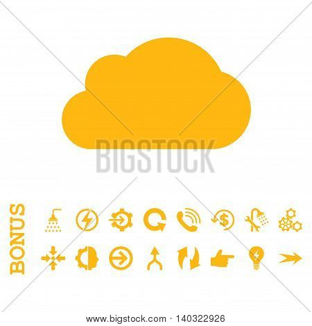 Cloud glyph icon. Image style is a flat pictogram symbol, yellow color, white background.