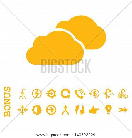 Clouds glyph icon. Image style is a flat iconic symbol, yellow color, white background.