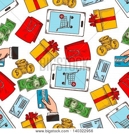 Shopping items and gifts seamless pattern background. Wallpaper with vector icons of smartphone, shopping cart, credit card, gift box, money, shopping bag, man hand