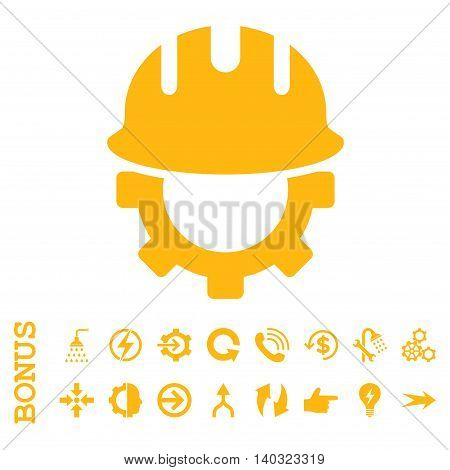 Development Hardhat glyph icon. Image style is a flat iconic symbol, yellow color, white background.