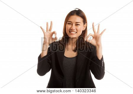 Asian Business Woman Show Double Ok Hand Sign  And Smile.