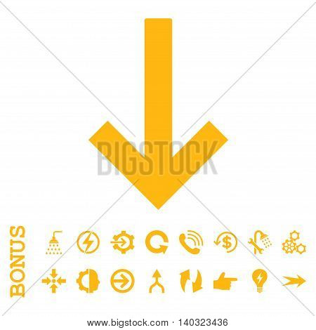 Down Arrow glyph icon. Image style is a flat iconic symbol, yellow color, white background.