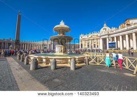 Rome, Lazio, Italy - June 18, 2016: Pope Francesco speaking in Piazza San Pietro for jubilee event. On background, the popular landmark of Basilica di San Pietro or St. Peter's Basilica.