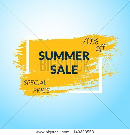 Summer Sale banner. Orange Paint brush background. Vector illustration.