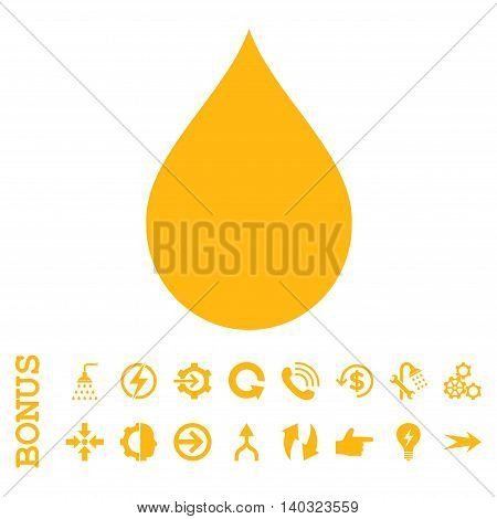 Drop glyph icon. Image style is a flat iconic symbol, yellow color, white background.