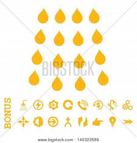 Drops glyph icon. Image style is a flat pictogram symbol, yellow color, white background.