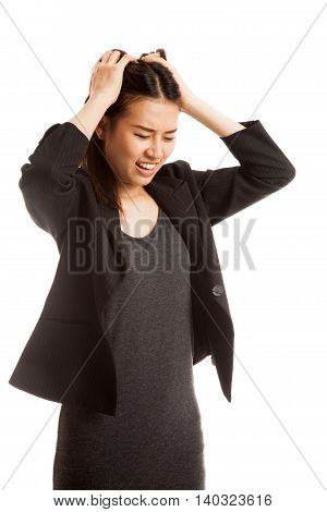 Stressed Young Asian Businesswoman Scream Out.