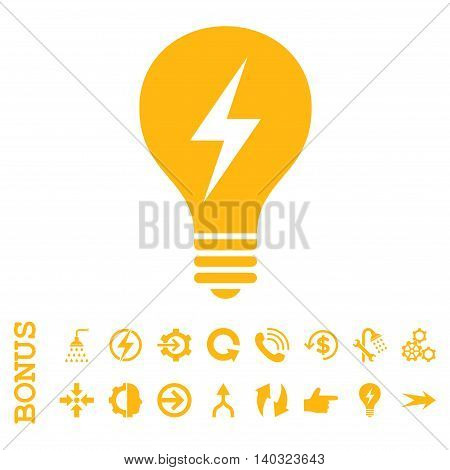 Electric Bulb glyph icon. Image style is a flat pictogram symbol, yellow color, white background.