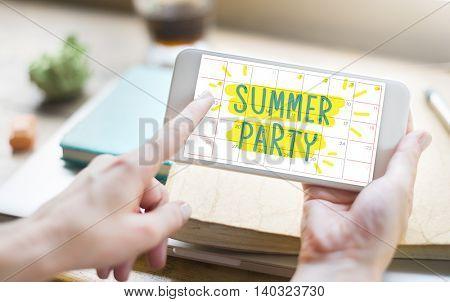 Summer Party Celebration Summertime Beach Concept