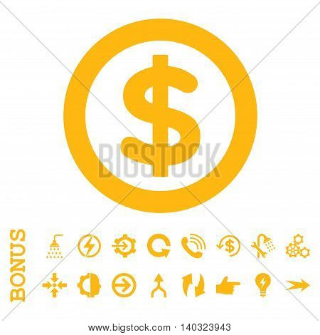 Finance glyph icon. Image style is a flat pictogram symbol, yellow color, white background.