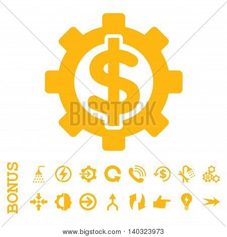 Financial Options glyph icon. Image style is a flat pictogram symbol, yellow color, white background.