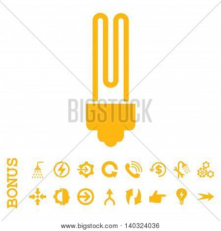 Fluorescent Bulb glyph icon. Image style is a flat pictogram symbol, yellow color, white background.