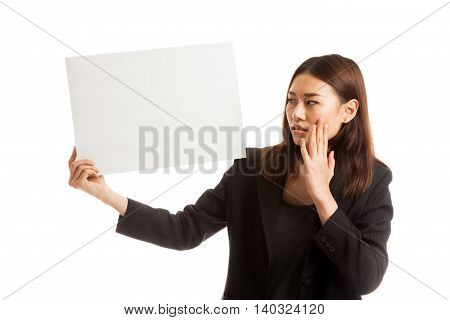 Young Asian Business Woman  Surprise With  White Blank Sign.