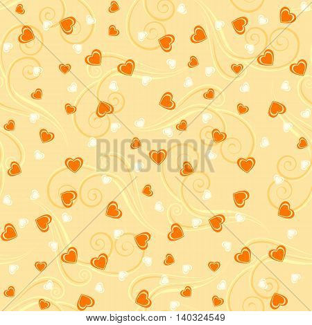 Seamless pattern background with hearts and tendrils in yellow colors